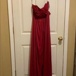 Floor length David's bridal strapless dress